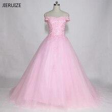 JIERUIZE Pink Vintage Lace Appliques Cheap Wedding Dresses 2018 V-neck Off the Shoulder Bridal Gowns vestidos de novia