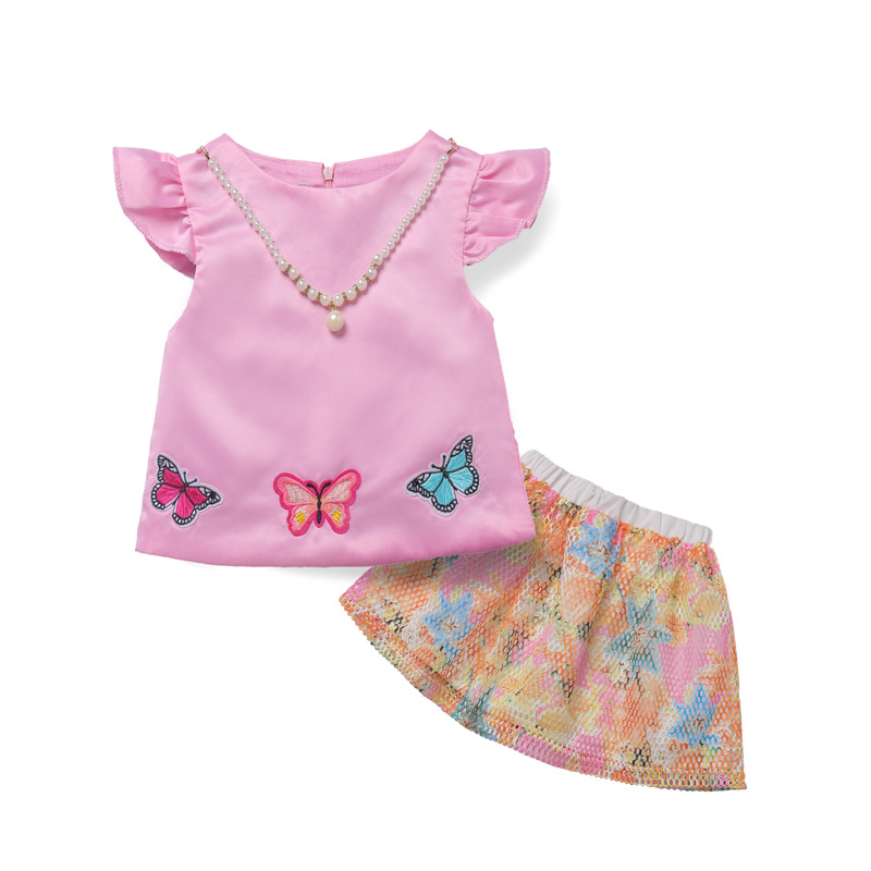 Girl pink T-shirt and Embroidery Butterfly Skirts Sets Short T-shirt+Lace Skirt Party Suits Kids Vestidos Toddler Girls Cute Set t shirt trussardi collection t shirt