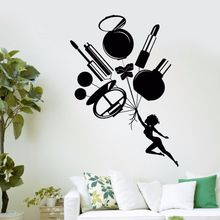 Vinyl Wall Decal Removable Cosmetics Makeup Beauty Salon Shop Sticker Woman Tools Art Mural Decoration AY425