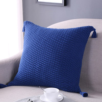 Solid Color Cotton Knitted Cushion Square Tassel Sofa Back Cushion Home Bedroom Decorative Solid Pillow Cushions 45x45cm