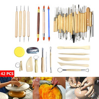 Hot 42Pcs Wooden Handle Clay Sculpting Tools Pottery Carving Modeling Carving Craft Kit FQ ing