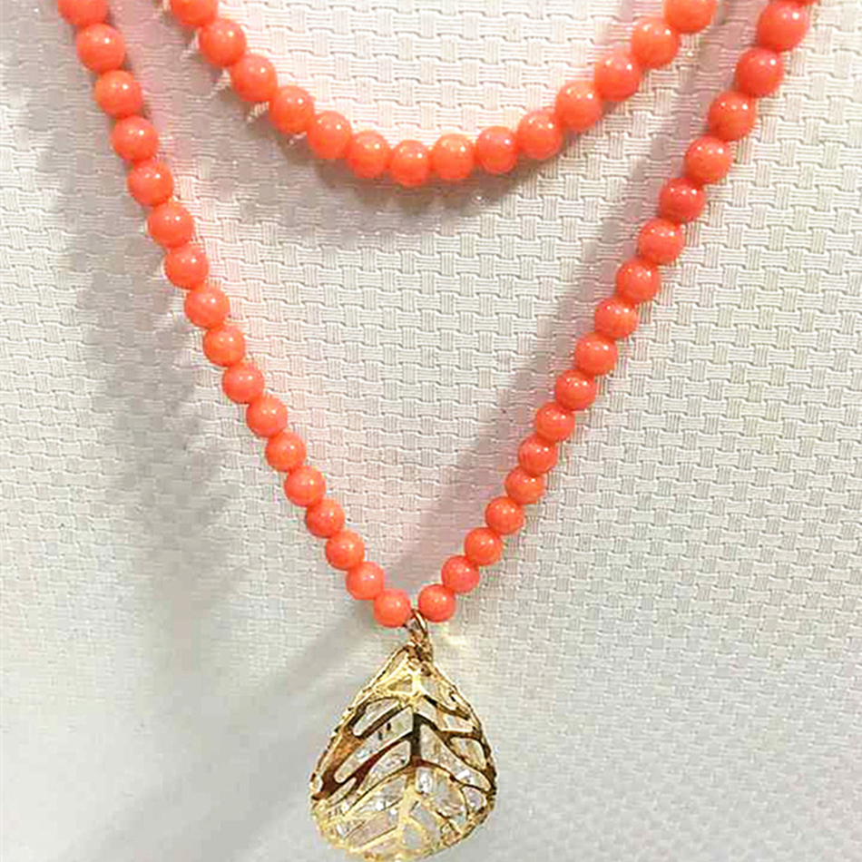 Orange artificial red coral 6mm round beads crystal leaf pendant long chain necklace wholesale price jewelry 32inch B981