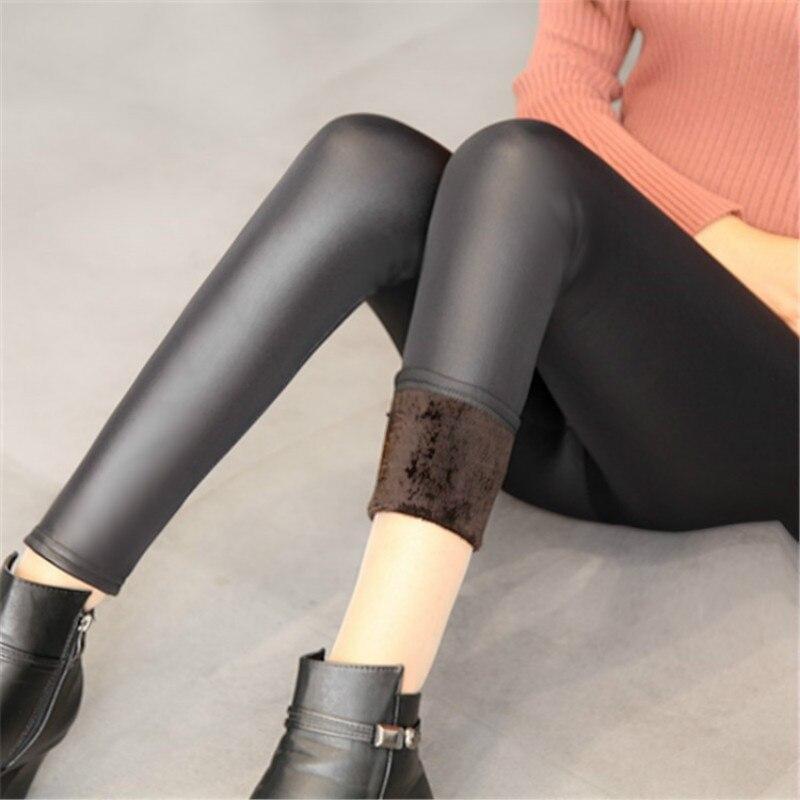 Large Size Winter Autumn Women Leggings Thickening Plush Velvet Leather Pants Warm Legging Push Up Bodycon Solid Black Slim Pant