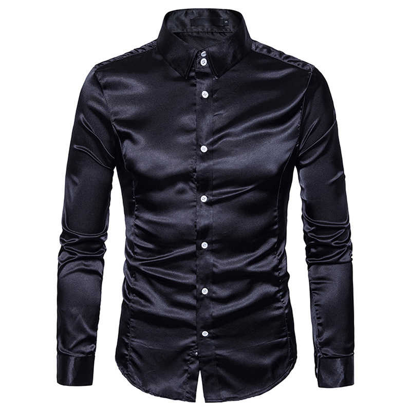 Camisa de seda blanca para hombre 2018 Camisa de satén de seda de moda para hombre Camisa de vestir Casual ajustada de manga larga Camisa de vestir para hombre masculina
