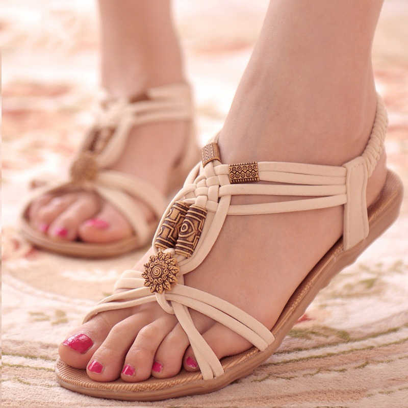 Women Sandals 2019 Fashion Summer Shoes Women Bohemia Flat Sandals For Beach Chaussures Femme Gladiator Sandals Casual Flip Flop