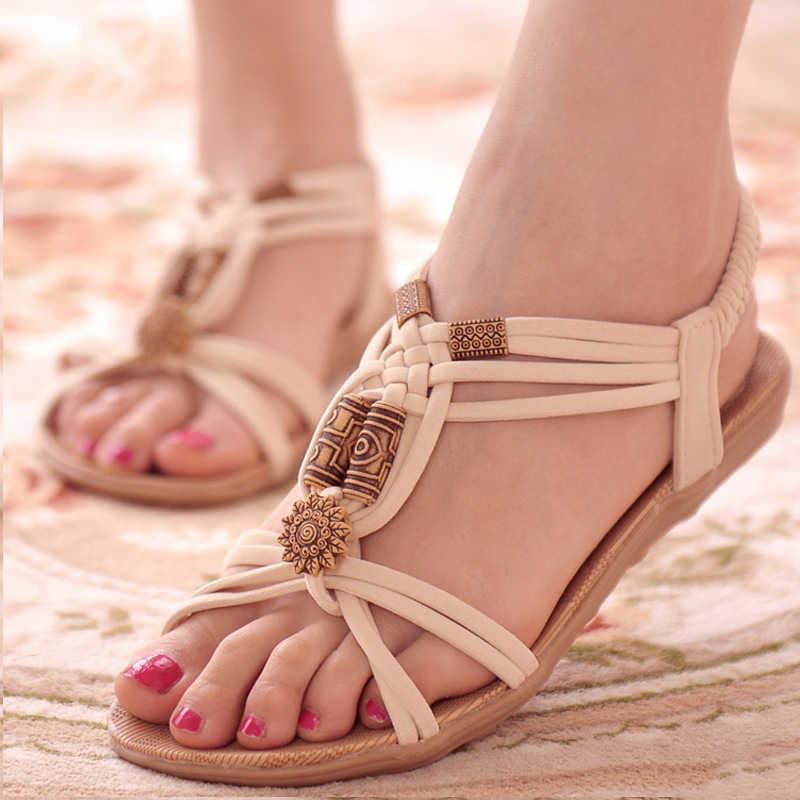 Phụ nữ Dép 2019 Thời Trang Mùa Hè Giày Phụ Nữ Bohemia Dép Phẳng Đối Với Bãi Biển Chaussures Femme Đấu Sĩ Dép Giản Dị Lật Flip Flop
