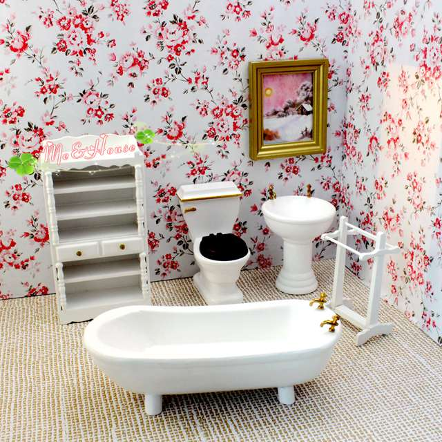 modern dollhouse furniture sets. Modern Dollhouse Miniature 1/12 Scale White Bathroom Set/5 Bathtub Sink Doll Kits-in Furniture Toys From \u0026 Hobbies On Aliexpress.com | Alibaba Sets E