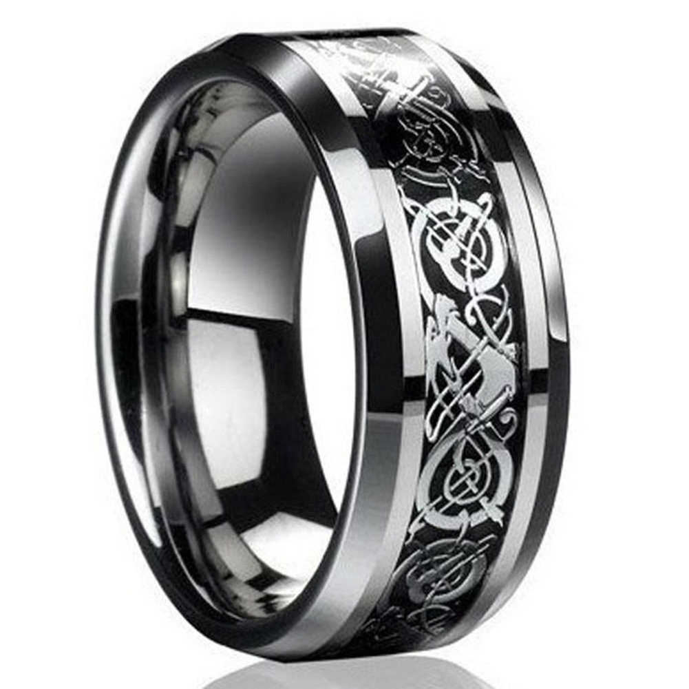 It is an image of Fashion Men Celtic Dragon Carving Titanium Steel Wedding Band Ring