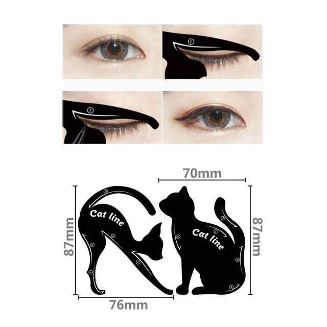 Beauty Eyebrow Women Cat Line Pro Eye Makeup Tool Eyeliner Stencils -2 Pc 2