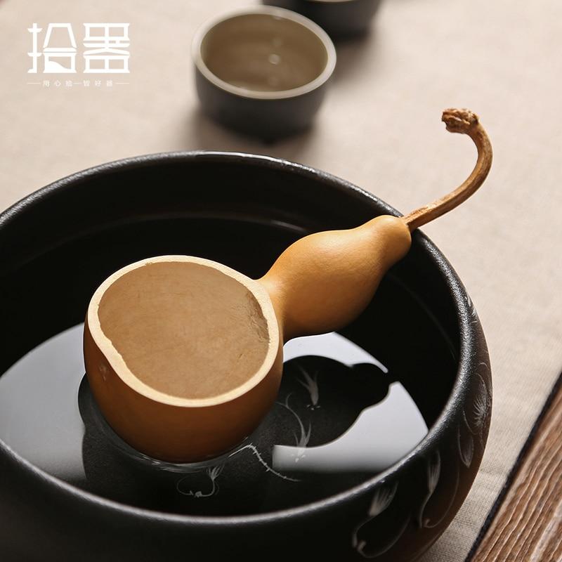 Creative Natural Chinese Calabash Tea Scoops Matcha Scoop Kong Fu Tea Set Tools Teaspoon Green Tea Bailer Kitchen Accessories