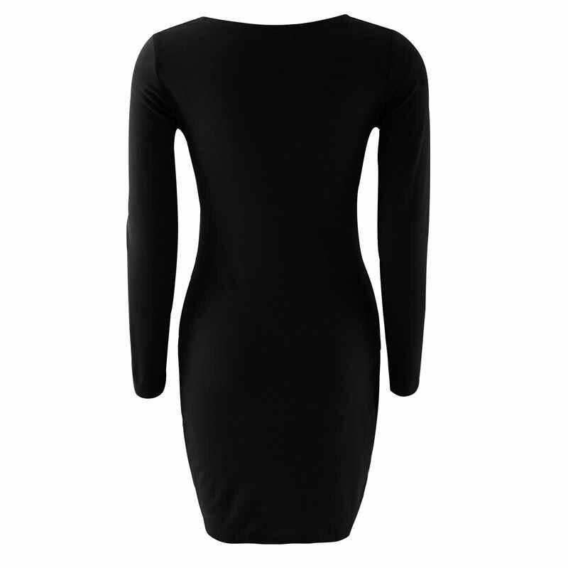 Женское облегающее платье для уличной носки, декорированное пуговицами, квадратный воротник, длинный рукав, однотонное мини-платье, модное женское осеннее платье-карандаш