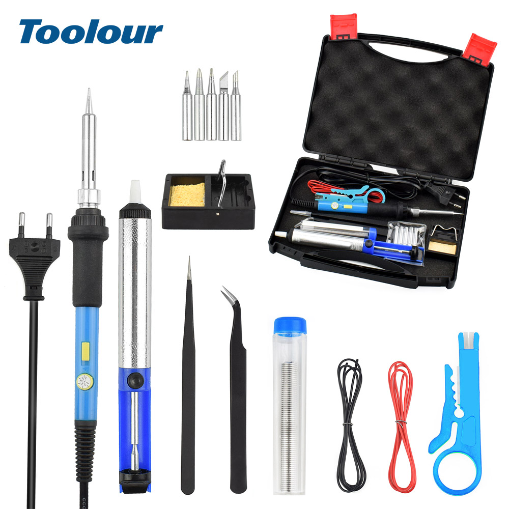 Toolour Soldering Iron Kit with Temperature Control Switch 110V 220V 60W Adjustable Electronic iron Welding Solder Station Tool