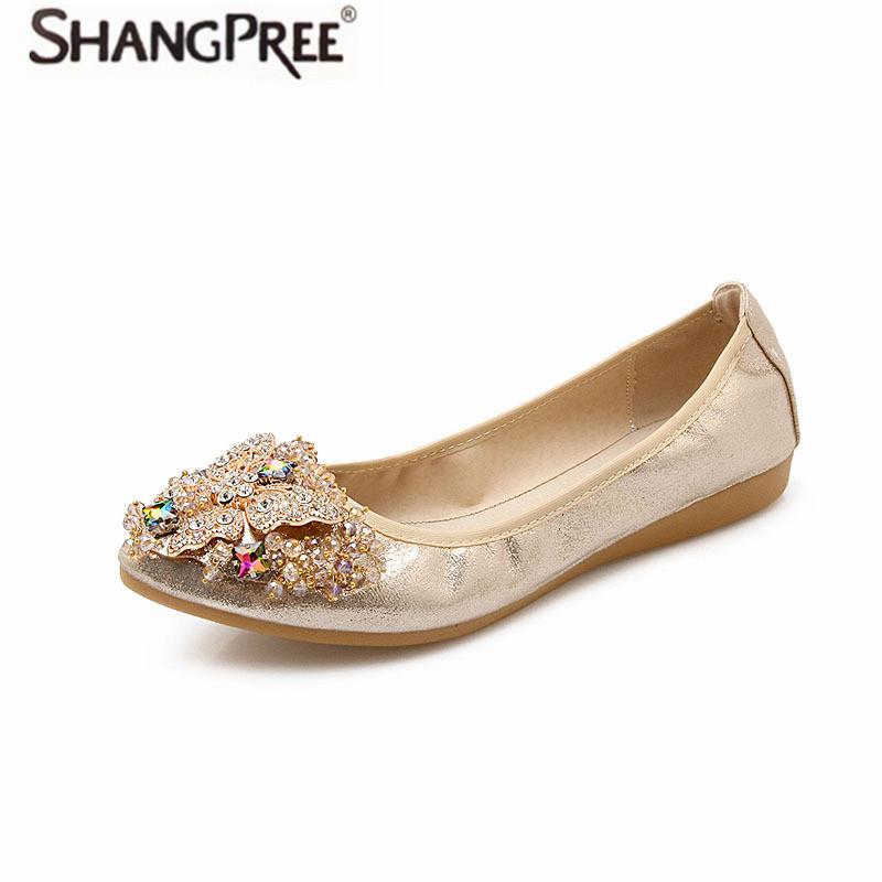 Woman Flats Shoes Hot Women Crystal Ballet Flats Large size 34-44 Spring autumn Slip-On Solid Gold Pointed Toe Women Shoes plusbig size 34 43 women s fashion shoes woman flats spring shoes female ballet shoes metal round toe solid casual shoes 237