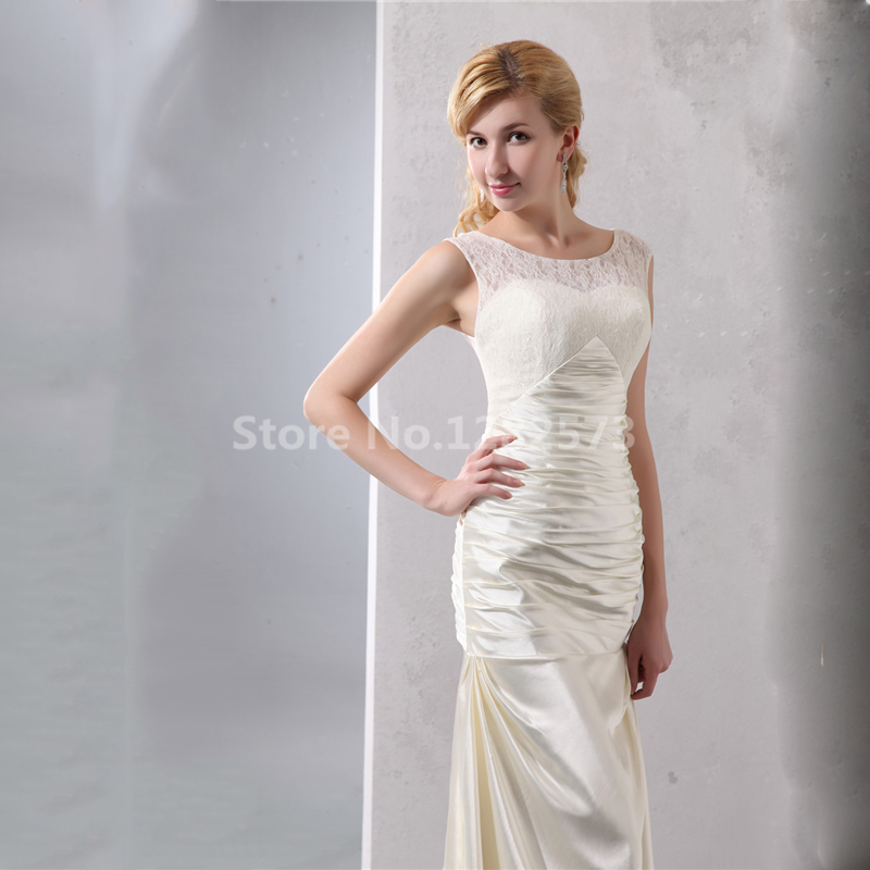 Cheap Simple Lace Wedding Dress Elegant Sexy Beach Dresses Long Bridal Gown Formal Satin Chic Party Gowns In From Weddings