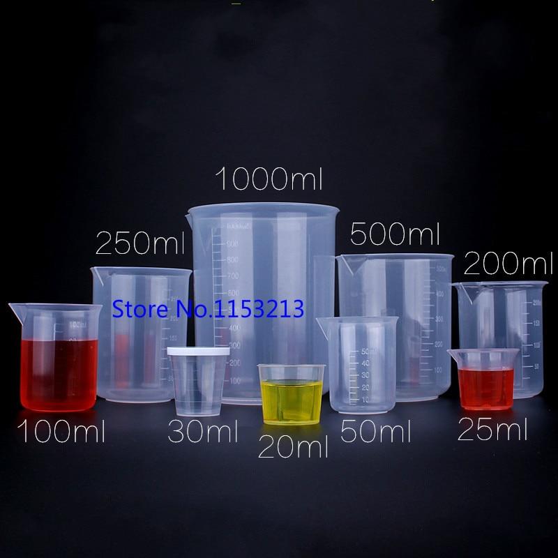 Plastic beaker 20ml/50ml/250ml/500ml/1000ml Capacity Clear PP Graduated Laboratory Measuring cup PP cylinder Baking Kitchen tool