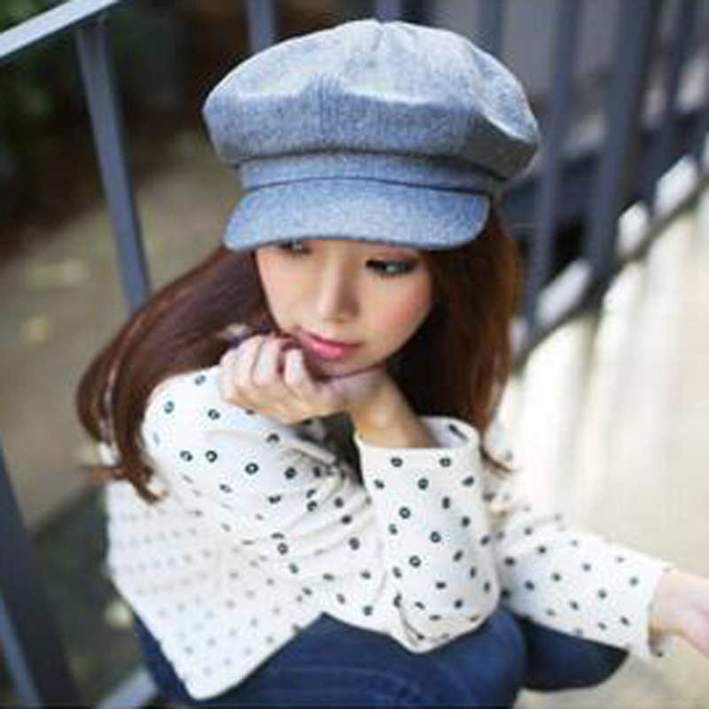 1pcsFashion Solid Hat Autumn And Winter Vintage Patchwork Beret Cap For Women England Style Flat Cap For Men Beret Homme Boina