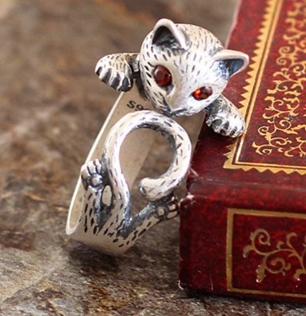 S990 silver inlaid garnet ring fine silver jewelry and Lady matte cat ring