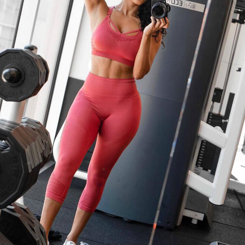 Energy Seamless Women Sports Capris Yoga High Elastic Waist Solid Skinny Stretch Pants Cropped Leggings Squatproof Gym Tights