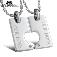 Stainless Steel Fine Jewelry Men Women Couples Pendant Necklace Crystal Natural Stone Love Heart Simple Vintage