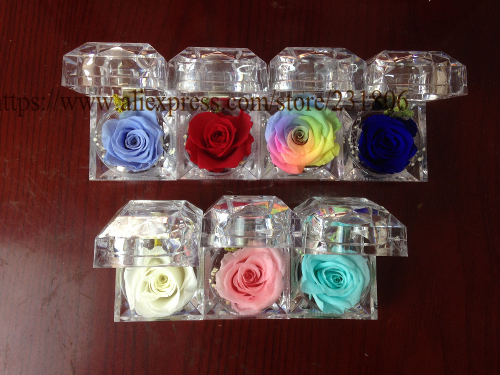 Free shipping,6pcs/lot,4.8*4.8cm.Preserved flower ring box immortal colorful roses BLUELOVER gift to girlfriends.Valentine's Day