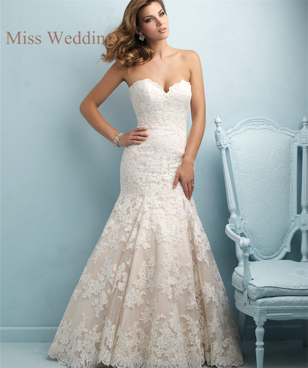 Strapless Mermaid Wedding Dresses: New Arrival Elegant Strapless Customized Lace Wedding