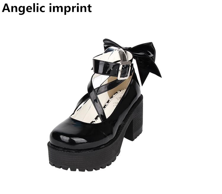 Angelic imprint mori girl lolita shoes woman cosplay shoes lady high thick heels pumps platform shoes