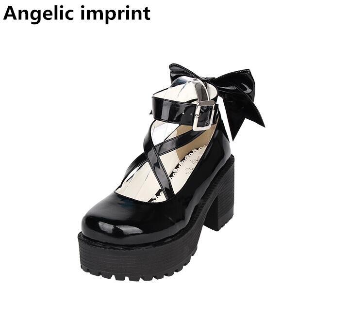 Estampado angelical mori chica lolita cosplay Zapatos Mujer Zapatos Señora tacones altos zapatos de plataforma mujeres princesa zapato único-in Zapatos de tacón de mujer from zapatos    1