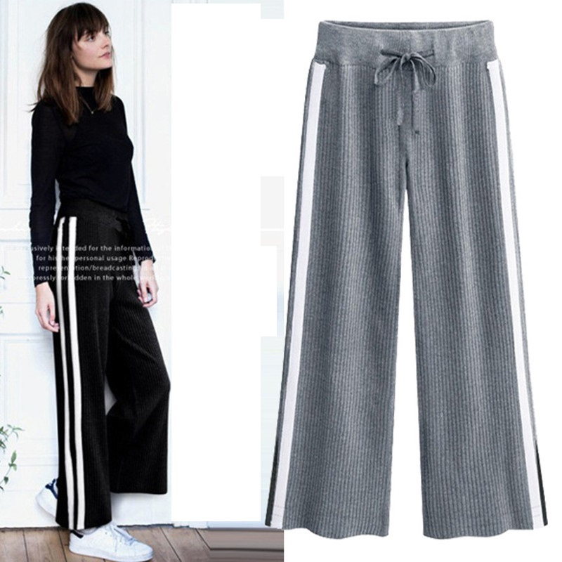 New Spring Autumn Women   Pants   Plus Size Fashion Loose Elastic Waist Striped   Wide     Leg     Pant   For Women larger Ankle-Length   Pants