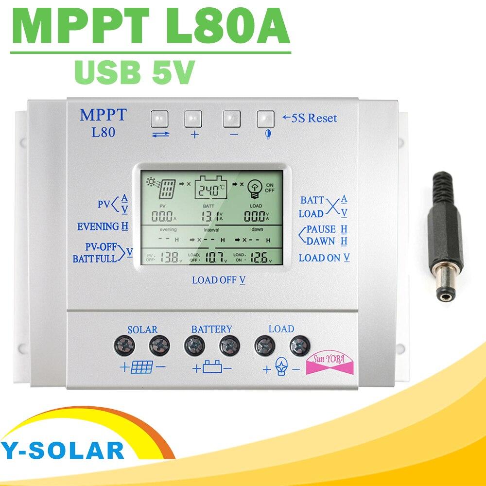 Y-SOLAR MPPT 80A de Charge Solaire Contrôleur 12 v 24 v Regulador Solaire 80A pour Max 48 v Entrée avec La Lumière et Minuterie Contrôle USB 5 12voutput