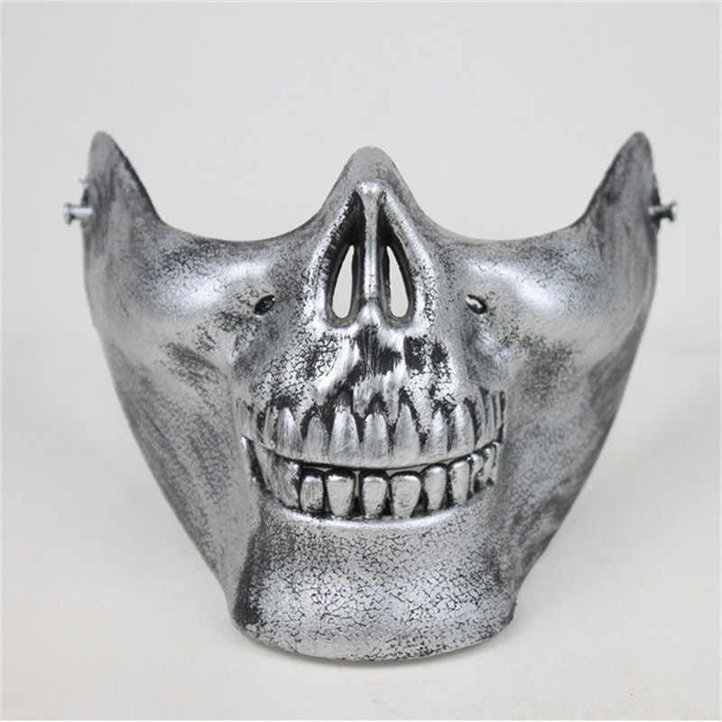 Takerlama Plastic Horror Skull Jaw Mask Terror Half Face Shied Skeleton  Ghost Mask for Halloween Party Cosplay
