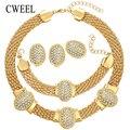 CWEEL Мода Африканские Бусы Ювелирные Наборы Для Женщи Нигерии Дизайн Ожерелье Серьги Свадьба Дубай Позолоченные Ювелирные Изделия Аксессуары