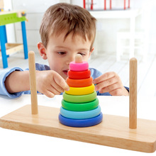 Montessoriเด็กปริศนาฮันNuoทาวเวอร์สายรุ้งซ้อนเพลงแหวนจับคู่ก่ออิฐรับรู้สีไม้ของเล่น