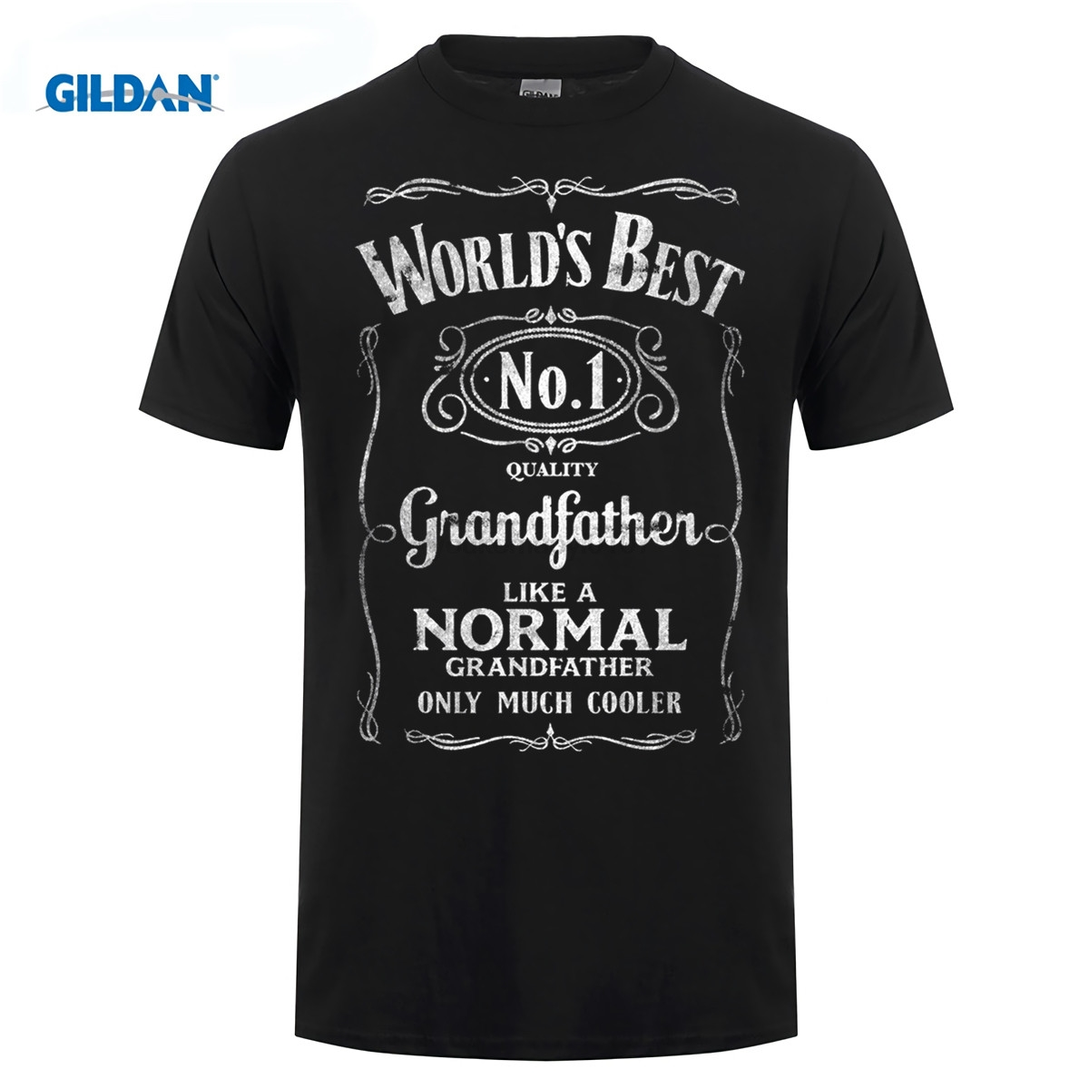 GILDAN Hipster Cool Tops Short Sleeve Printing O-Neck WorldS Best Grandfather Funny Granddad Fathers Day Present Top Shirt
