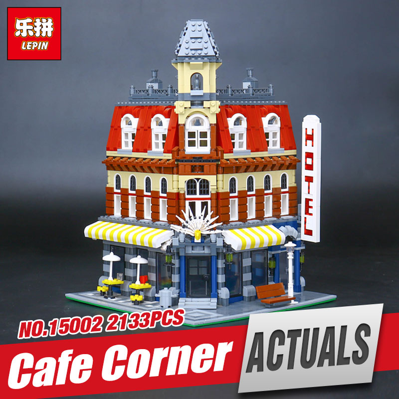 LEPIN 15002 New 2133Pcs Cafe Corner Model Educational Building Kits Blocks Kid Funny Toy Gift brinquedos 10182 for children gift building blocks stick diy lepin toy plastic intelligence magic sticks toy creativity educational learningtoys for children gift