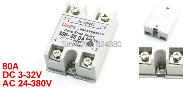 DC to AC Temperature Contoller Single Phase Solid State Relay SSR-80 DA 80A 3-32V 24-380V