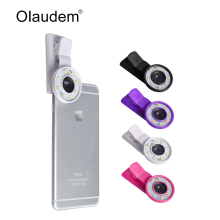 Mini Selfie Flash Light Ring LED Flashlight + 0.65x Wide Angle Lens+Macro Lens Kit Phone Lenses For iPhone Samsung Xiaomi LP1318(China)