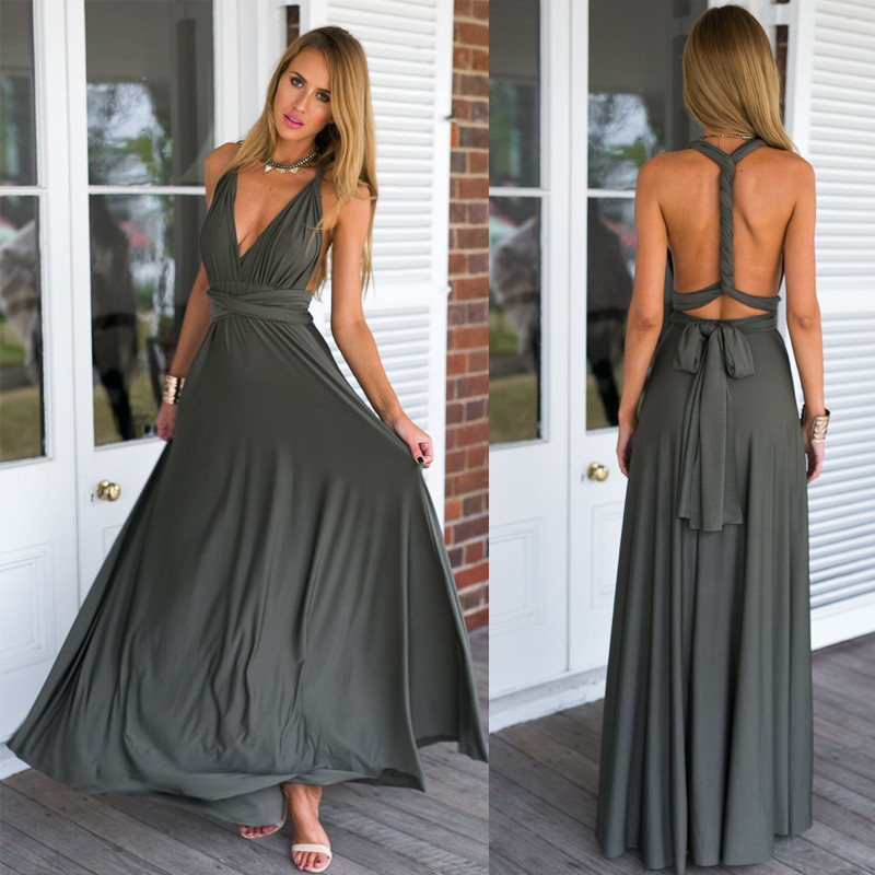 2016 Summer Y Women Peach Infinity Maxi Wrap Dress Long Gown Multiway Bridesmaids Convertible Robe Longue Femme In Dresses From S