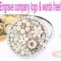 Выгравировать слова логотип бесплатно, свадьба невесты подарок, bling перл хрустальный цветок, мини красоты карман макияж compact зеркало для макияжа