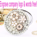 Engrave words logo free,wedding party bridesmaid gift,bling pearl crystal flower,mini beauty pocket makeup compact mirror makeup