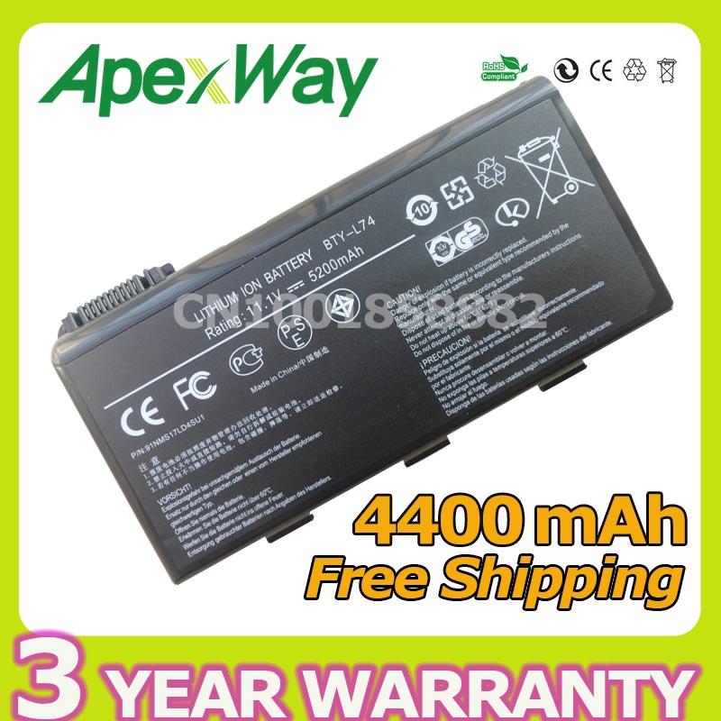 Apexway 4400 mAh BTY-L74 batería para portátil MSI L74 L75 A5000 A6000 CX500 CX500DX CX705X CX623 EX460 EX610 CX700 CX620