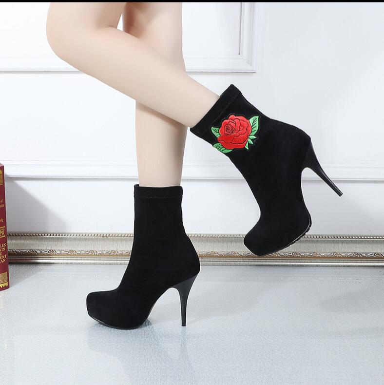 Kaeve Black Grey Flock Mid-Calf Boots Fashion Thin Heels Pumps Stretch Fabric Round Toe Martin Boots Big Size double buckle cross straps mid calf boots