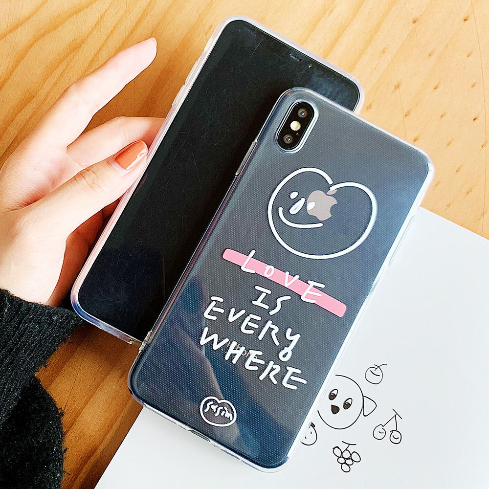 KIPX1103_3_JONSNOW Phone Case For iPhone 6S 7 8 Plus Love Pattern Clear Soft Silicone Cover Cases for iPhone X XR XS Max Capa Fundas