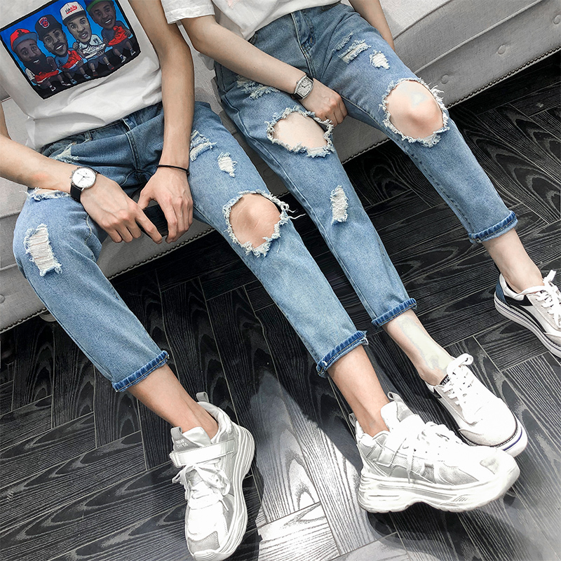 Summer New Jeans Men Fashion Casual Tear Hole Denim Pants Man Streetwear Trend Wild Hip Hop Loose Trousers Male Clothes in Jeans from Men 39 s Clothing