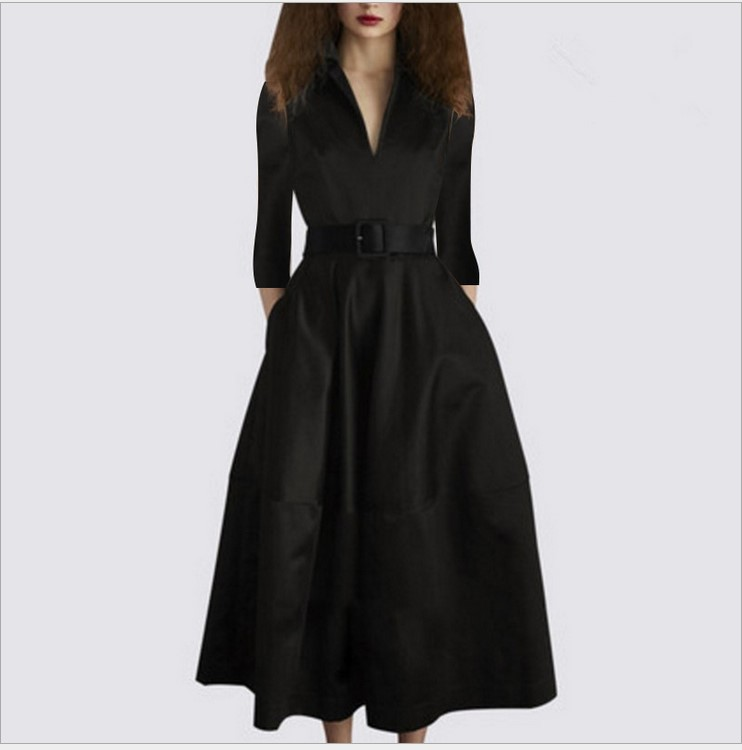 2019 new arrival girls fashion quality elegant black dresses women s casual autumn style V neck