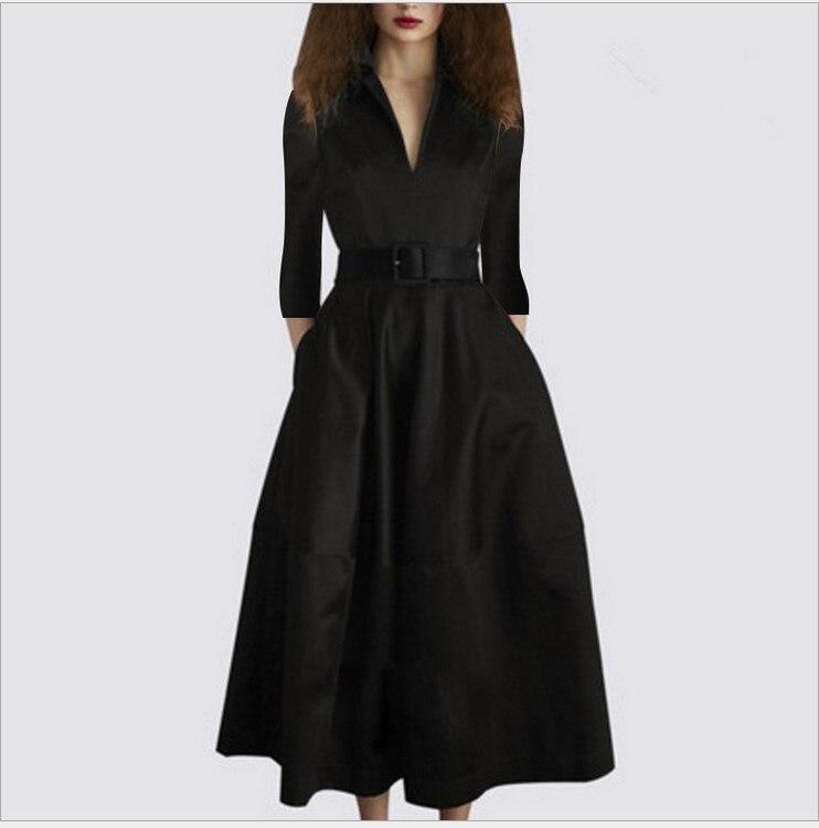2019 nouveauté filles mode qualité élégant noir robes décontracté automne style col en V slim vin rouge robe taille L # W29-in Robes from Mode Femme et Accessoires on AliExpress - 11.11_Double 11_Singles' Day 1