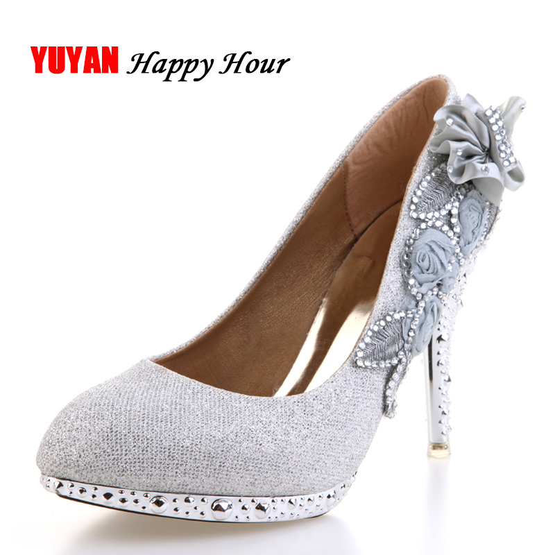 2017 women high heels prom wedding shoes lady crystal platforms silver  Glitter rhinestone bridal shoes thin heel party pump 45a8d107a035