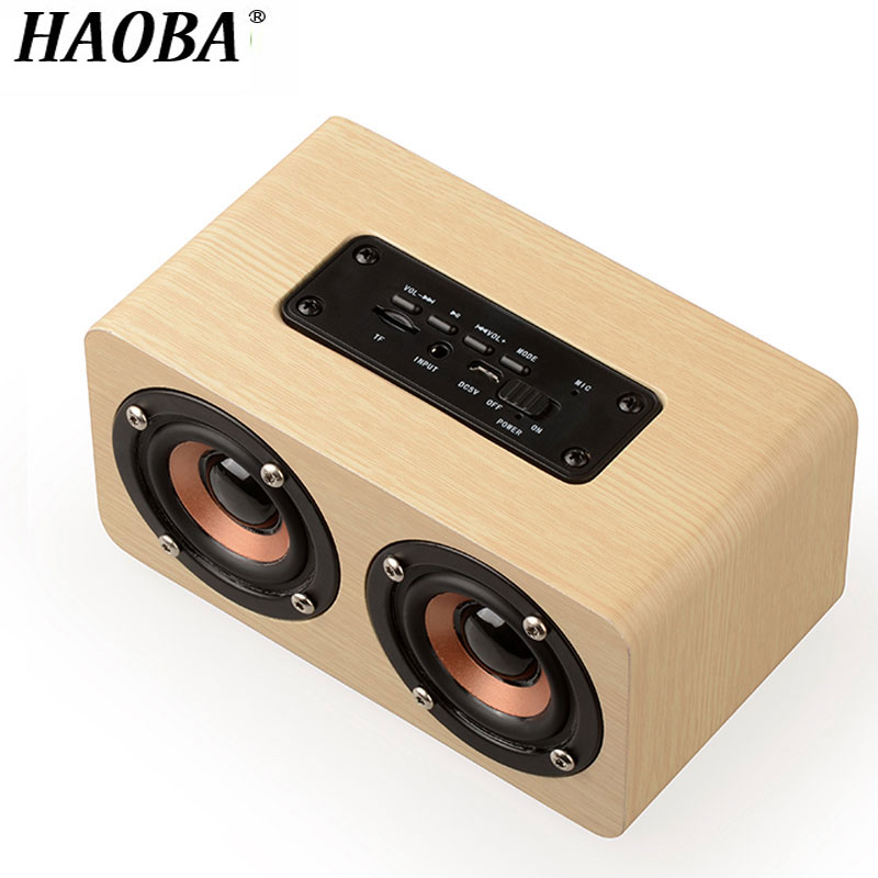 HAOBA Bluetooth Speaker Portable Outdoor Wireless Bluetooth Speaker Wood Subwoofer Speaker Support TF Card Handsfree lker lks1 portable bluetooth v4 0 speaker