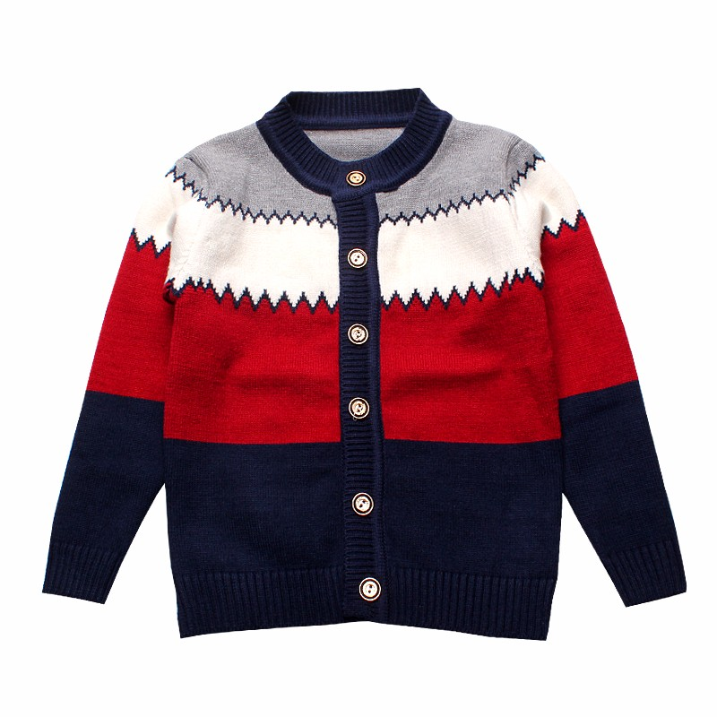 2016 Boys Sweaters Striped Cotton Top Knit Infant Outfit With Button Boy Tee Winter Warm Outerwear Cute Kids Clothes Cardigans (2)