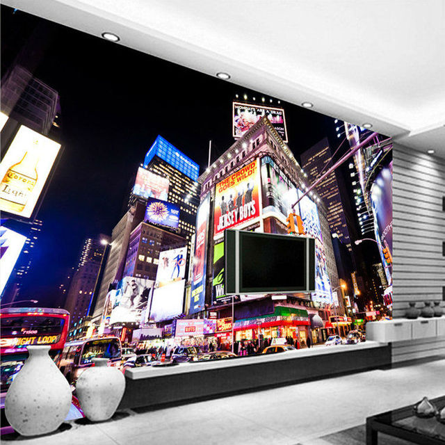 Custom 3D Wall Murals New York Times Square Wallpaper City Photo ...