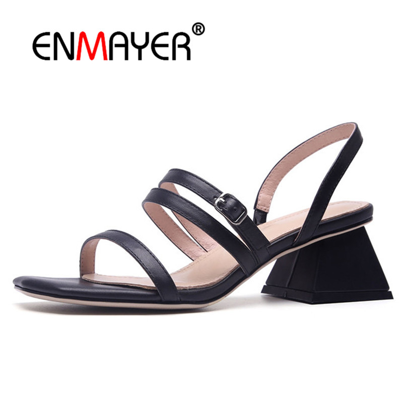 ENMAYER Real Leather Women High heels Sandals for ladies Summer Causal Buckle strap Strange heels Open toe Shoes woman CR846